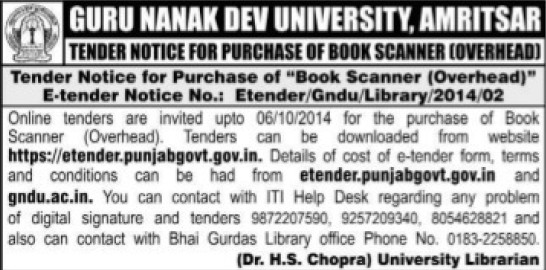 Purchase of book scanner (Guru Nanak Dev University (GNDU))