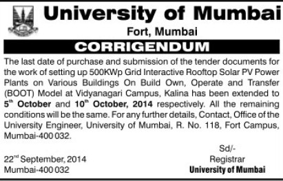 Supply of Solar PV Power Plants (University of Mumbai (UoM))