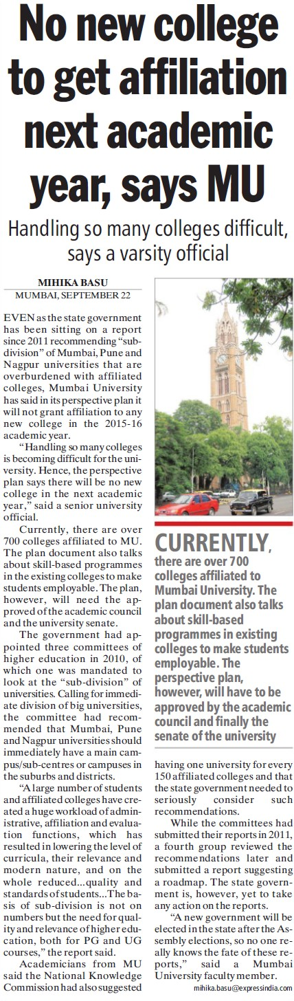 No new college get affiliation next academic year (University of Mumbai (UoM))