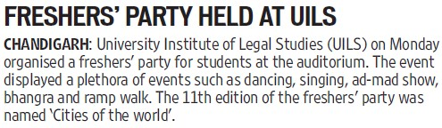 Fresher Party held (PU University Institute of Legal Studies (UILS))