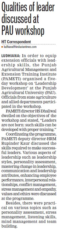 Qualities of leader discussed at PAU workshop (Punjab Agricultural University PAU)