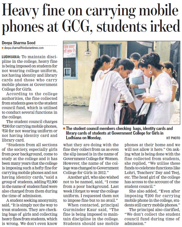 Heavy fine on carrying mobile phones (Government College for Women)