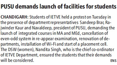 PUSU demands launch of facilities for students (Panjab University Students Union PUSU)