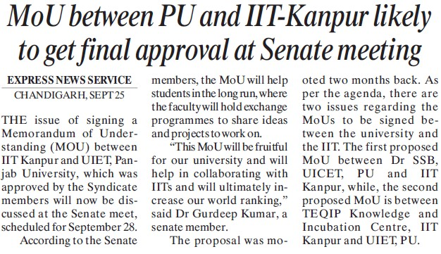 MoU between PU and IITK likely to get final approval at senate meeting (Indian Institute of Technology (IITK))