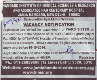 Ward Sister on contract basis (Hamdard Institute of Medical Sciences and Research)