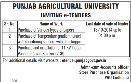 Purchase of Paper (Punjab Agricultural University PAU)