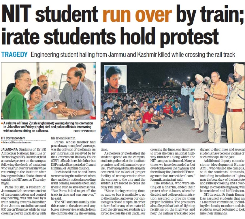 NIT student run over by train (Dr BR Ambedkar National Institute of Technology (NIT))