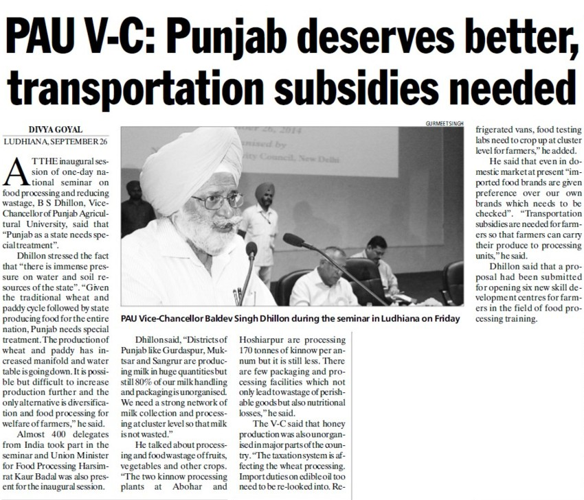 Punjab deserves better transportation subsidies, PAU VC (Punjab Agricultural University PAU)