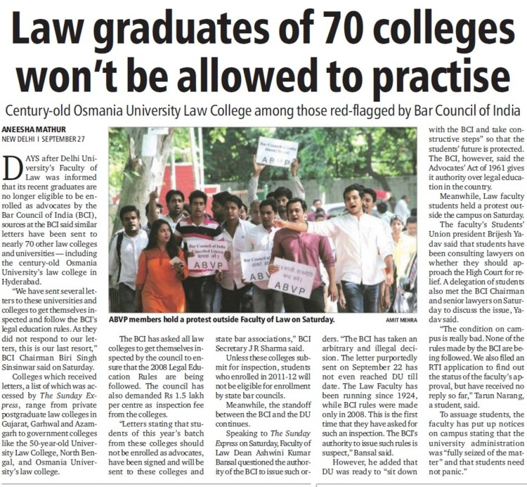 Law graduates of 70 colleges wont be allowed to practise (Delhi University)