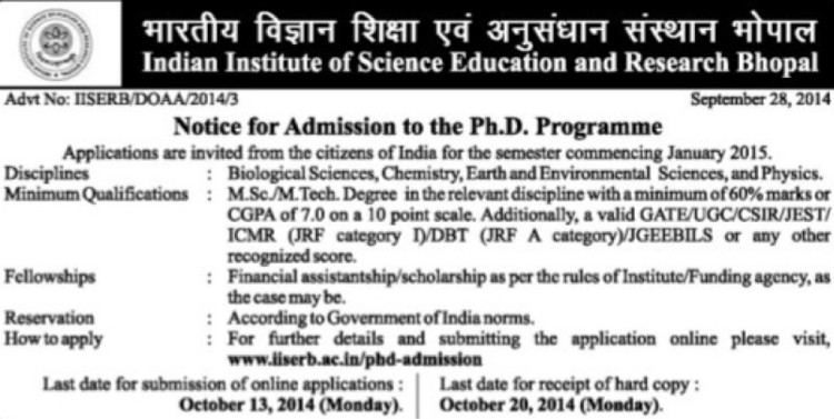 PhD Programme (Indian Institute of Science Education and Research (IISER))