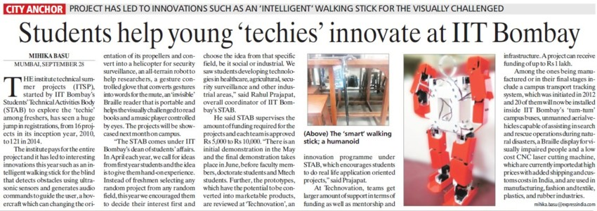 Students help young techies innovatate (Indian Institute of Technology (IITB))