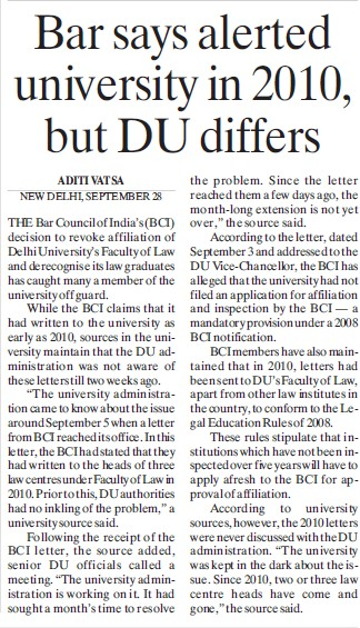 Bar says alerted university in 2010 (Delhi University)