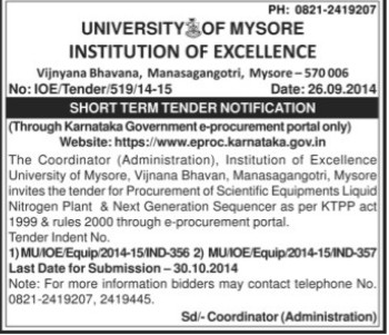 Supply of Scientific equipments (University of Mysore)