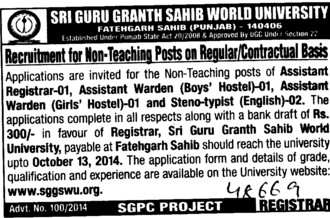 Asstt Warden on contract basis (Sri Guru Granth Sahib World University)