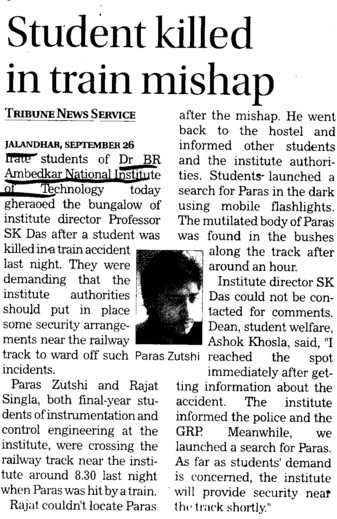 Student killed in road mishap (Dr BR Ambedkar National Institute of Technology (NIT))
