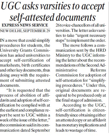 UGC asks varsities to accept self attested documents (University Grants Commission (UGC))