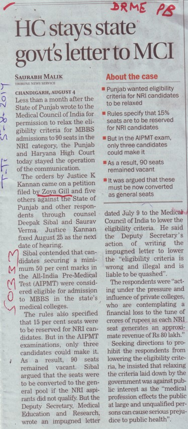 HC stays state govt letter to MCI (Director Research and Medical Education DRME Punjab)