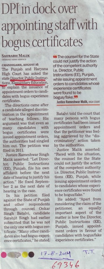 DPI in dock over appointing staff with bogus certificates (DPI Schools Punjab)