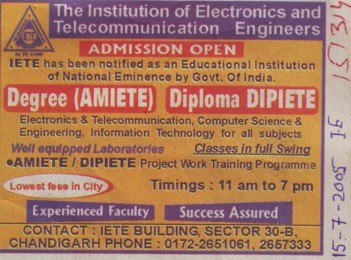 Degree in Electronics Engineering (Institute of Electronics and Telecommunication Engineering (IETE))