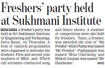 Fresher Party held (Sri Sukhmani Institute of Engineering and Technology)