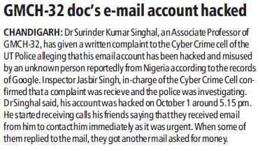 GMCH docs email account hacked (Government Medical College and Hospital (Sector 32))