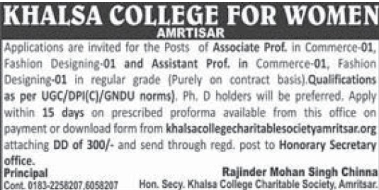 Asstt Professor in Commerce (Khalsa College for Women)