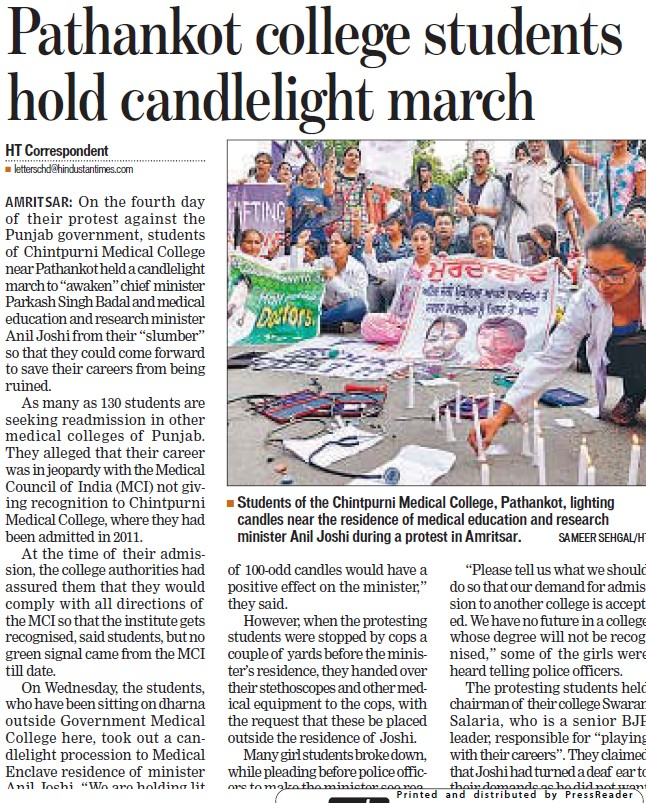 Pathankot college students hold candlelight march (Chintpurni Medical College and Hospital)