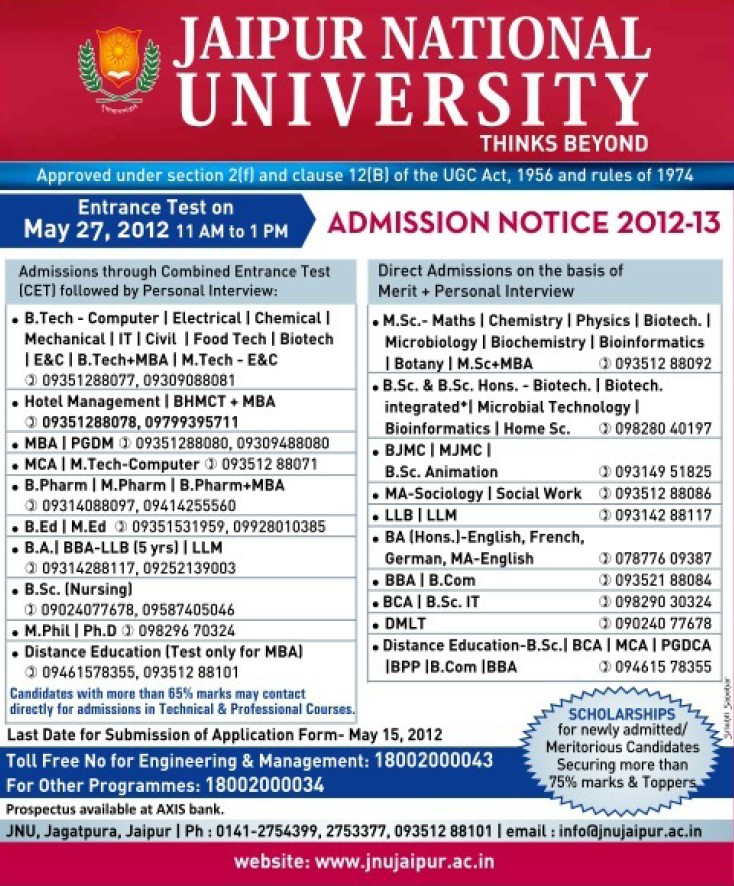 B Ed and PhD Programme (Jaipur National University)