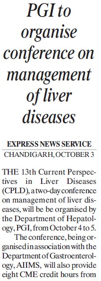 PGI to organise conference on management of liver diseases (Post-Graduate Institute of Medical Education and Research (PGIMER))