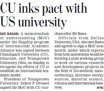CU inks pact with US University (Chandigarh University)