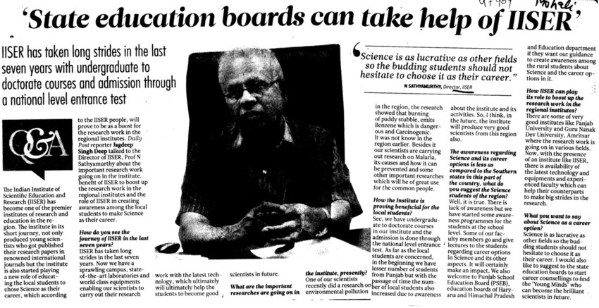 State Education boards can take help of IISER (Indian Institute of Science Education and Research (IISER))