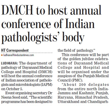 Annual Conference of Indian Pathologists body (Dayanand Medical College and Hospital DMC)