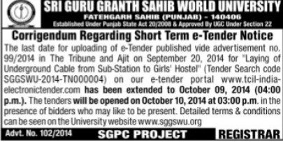 Laying of underground cable (Sri Guru Granth Sahib World University)