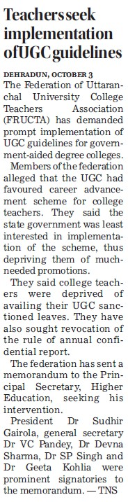 Teachers seek implementation of UGC guidelines (University Grants Commission (UGC))