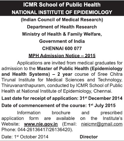 Master of Public Health (National Institute of Epidemiology)