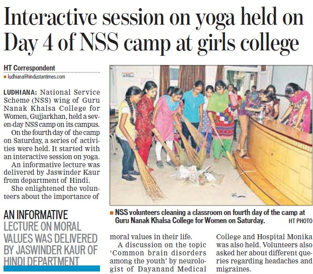 Interactive session on Yoga held (Guru Nanak Khalsa College for Women)