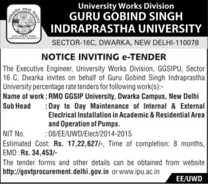 Maintanance of Electrical works (Guru Gobind Singh Indraprastha University GGSIP)