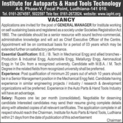General Manager (Institute for Autoparts and Hand Tools Technology)