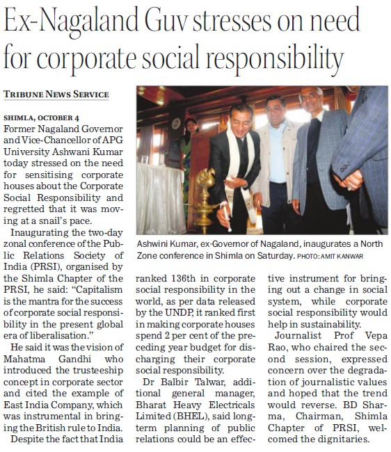 Ex Nagaland Guv stresses on need for corporate social responsibility (APG Shimla University)