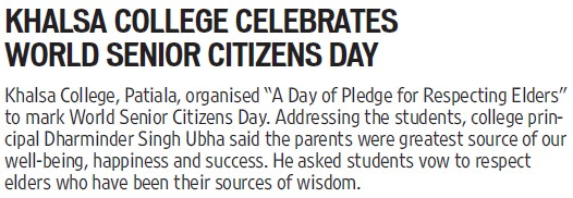 World senior citizens day celebrated (Khalsa College)