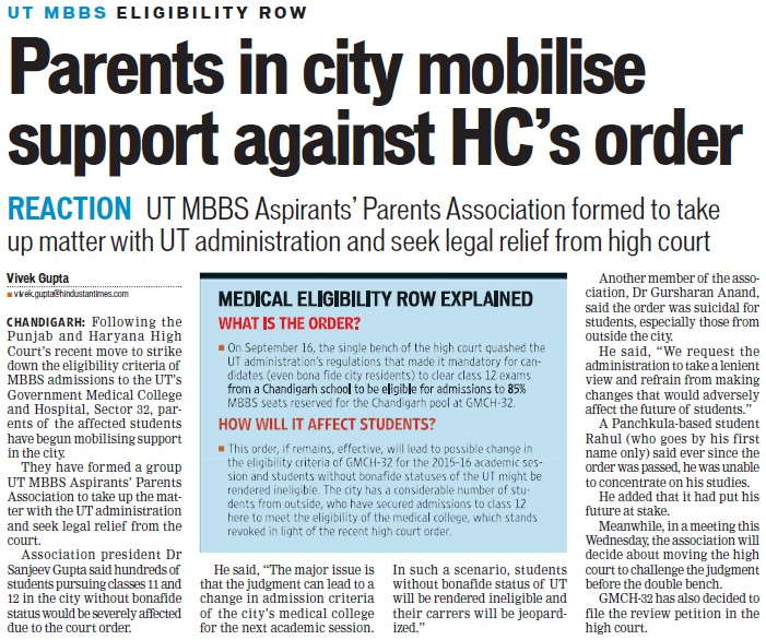 Parents in city mobilise support against HCs order (Government Medical College and Hospital (Sector 32))