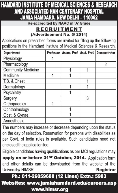 Asstt Professor for Pharmacology (Hamdard Institute of Medical Sciences and Research)