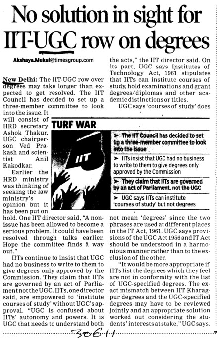 No solution in sight for IIT UGC row in degrees (University Grants Commission (UGC))