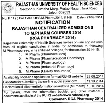 M Phil Course (Rajasthan University of Health Sciences (RUHS))