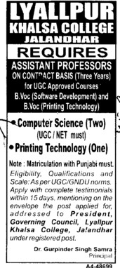 Asstt Professoe in Computer Science (Lyallpur Khalsa College of Boys)