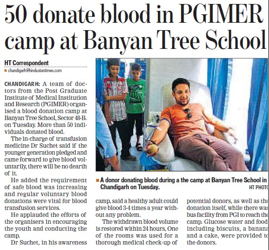 Blood donation camp held (Post-Graduate Institute of Medical Education and Research (PGIMER))