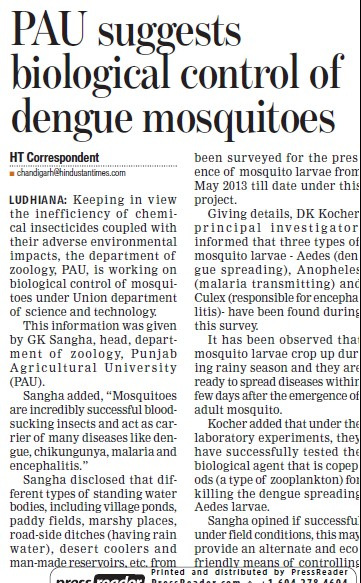 PAU suggests biological control of dengue mosquitoes (Punjab Agricultural University PAU)
