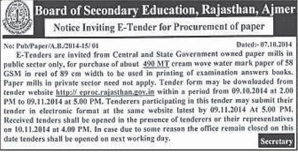 Purchase of papers (Rajasthan Board of Secondary Education)