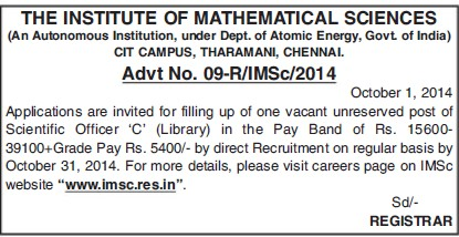 Scientific Officer C (Institute of Mathematical Sciences)