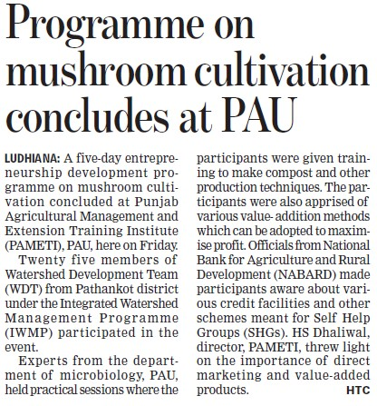 Programme on Mushroom cultivation (Punjab Agricultural University PAU)